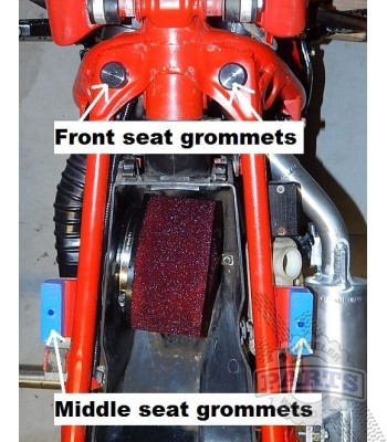 ATC250R FRONT rubber seat grommets (RED)